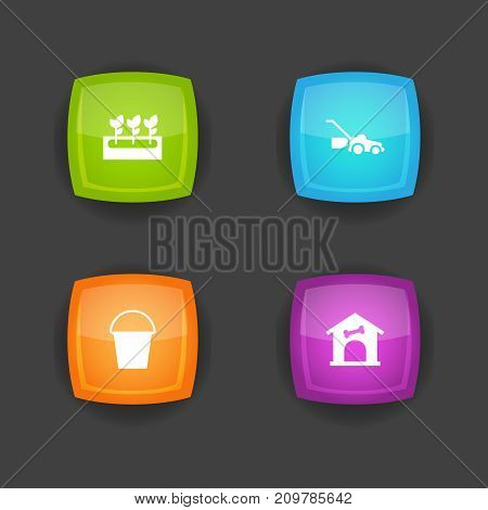 Collection Of Bucket, Kennel, Lawn Mower And Other Elements.  Set Of 4 Household Icons Set.