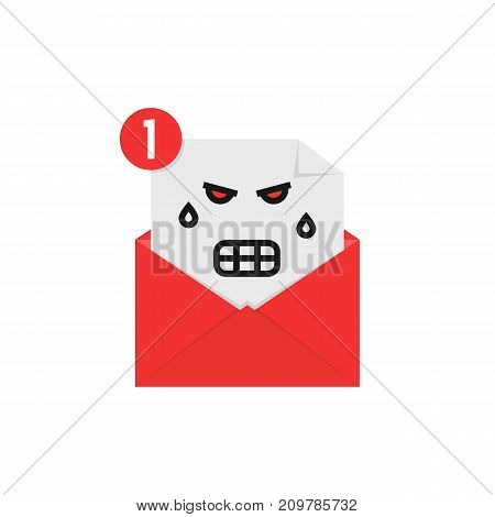 angry emoji in letter notification. concept of newsletter, spam, negative e-mail on white background