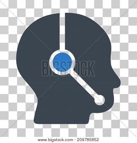 Call Center Operator icon. Vector illustration style is flat iconic bicolor symbol, smooth blue colors, transparent background. Designed for web and software interfaces.