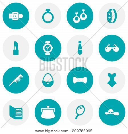 Collection Of Pomade, Diamond, Necktie And Other Elements.  Set Of 16 Accessories Icons Set.