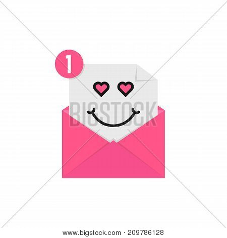 love emoji in pink letter notification. concept of character, happy valentine day, romance on white background