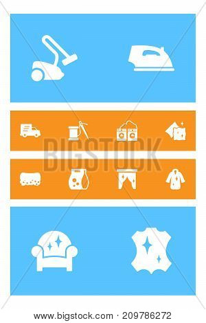 Collection Of Shipping, Cushion, Washing Powder And Other Elements.  Set Of 12 Cleanup Icons Set.