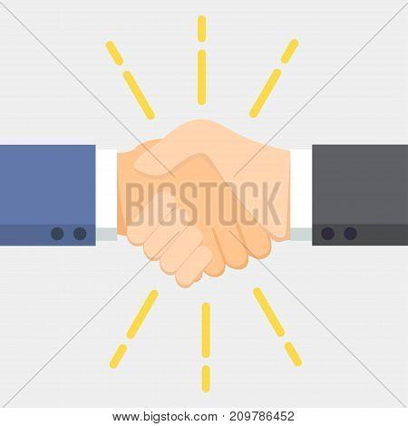 Business man handshake. Vector illustration icon hand
