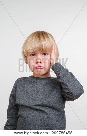 New vertical portrait of handsome caucasian child