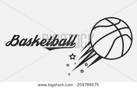 Vintage Basketball banner with lettering. Vector illustration