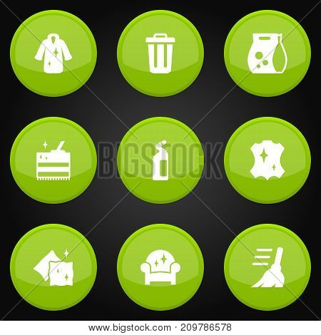 Collection Of Cushion, Cleaning, Broom And Other Elements.  Set Of 9 Harvesting Icons Set.