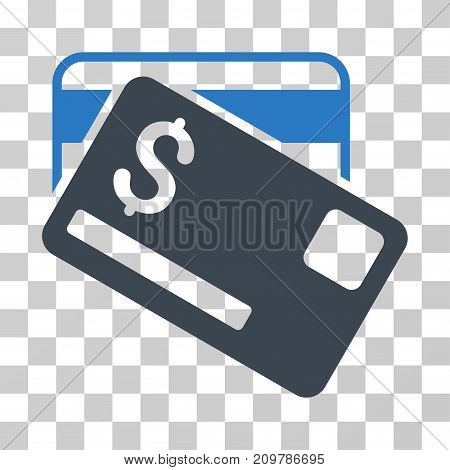 Credit Cards icon. Vector illustration style is flat iconic bicolor symbol, smooth blue colors, transparent background. Designed for web and software interfaces.