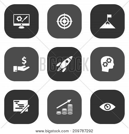 Collection Of Repair Service, Rocket, Sponsor And Other Elements.  Set Of 9 Startup Icons Set.