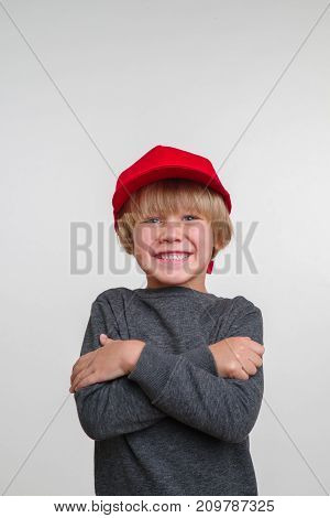 New horisontal portrait of caucasian boy vith hat