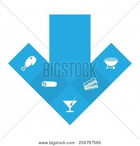 Collection Of Ham, Barbecue, Martini And Other Elements.  Set Of 5 Food Icons Set.