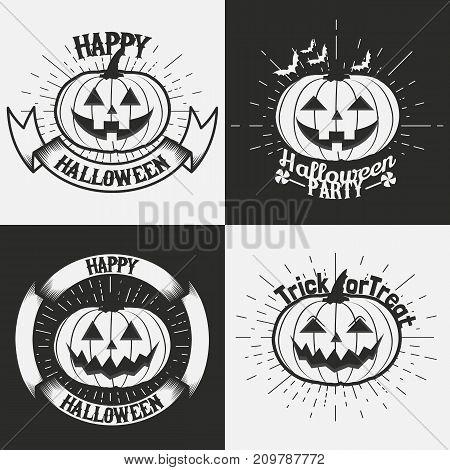 Halloween pumpkin vintage emblems, labels . Halloween logo