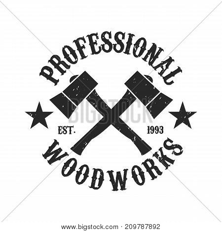 Vintage Woodwork logo - Two axes crossed icon