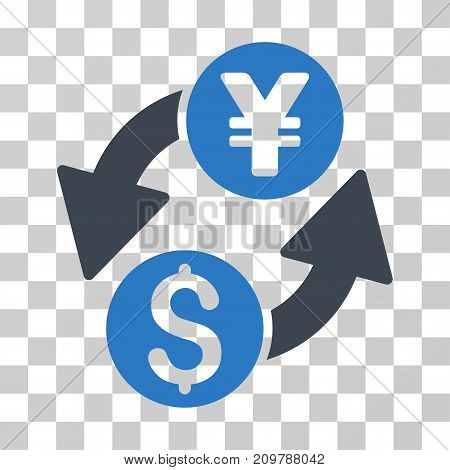 Dollar Yen Exchange icon. Vector illustration style is flat iconic bicolor symbol, smooth blue colors, transparent background. Designed for web and software interfaces.