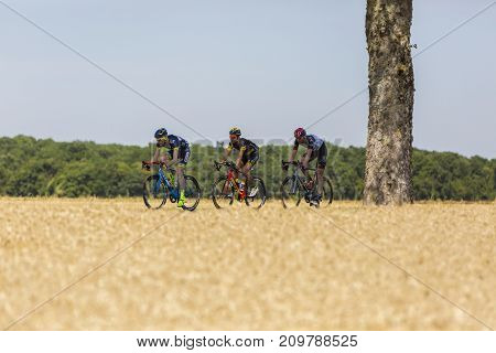 Vendeuvre-sur-Barse France - 6 July 2017: Three cyclists (Backaert of Wanty-Groupe Gobert Team Quemeneur of Direct Energie Team Laengen of UAE Team Emirates) in the breakaway pass through a region of wheat fields during the stage 6 of Tour de France 2017.