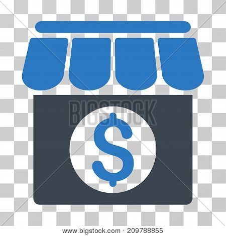 Market Building icon. Vector illustration style is flat iconic bicolor symbol, smooth blue colors, transparent background. Designed for web and software interfaces.