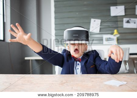 3D on a boy who experiences vivid emotions in a beautiful dress suit