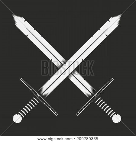 Two crossed swords fight concept. Vector illustration.