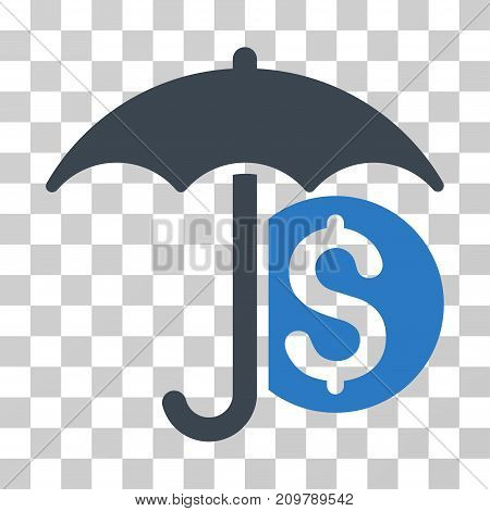 Money Umbrella Protection icon. Vector illustration style is flat iconic bicolor symbol, smooth blue colors, transparent background. Designed for web and software interfaces.