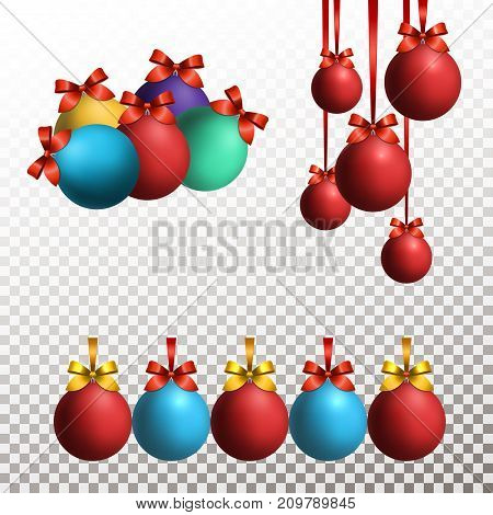 Set of red, blue, green and yellow Christmas balls with red and golden ribbon with bow on transparent background