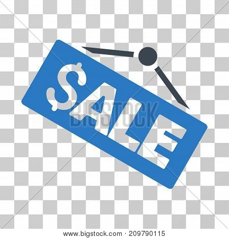 Sale Signboard icon. Vector illustration style is flat iconic bicolor symbol, smooth blue colors, transparent background. Designed for web and software interfaces.
