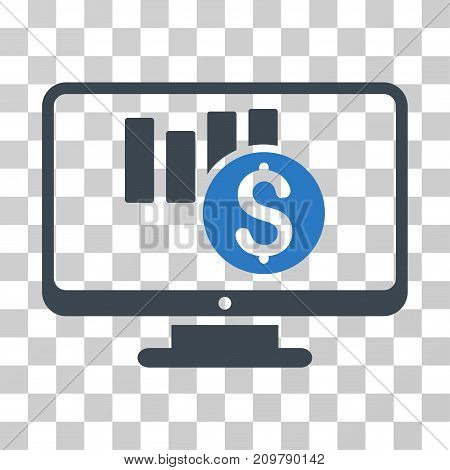 Sales Chart Monitoring icon. Vector illustration style is flat iconic bicolor symbol, smooth blue colors, transparent background. Designed for web and software interfaces.