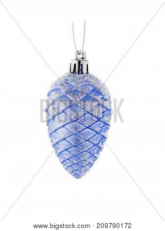 A beautiful silver shiny ball for Christmas tree isolated on a white background. New Year decoration for the house and pine. Holidays concept.