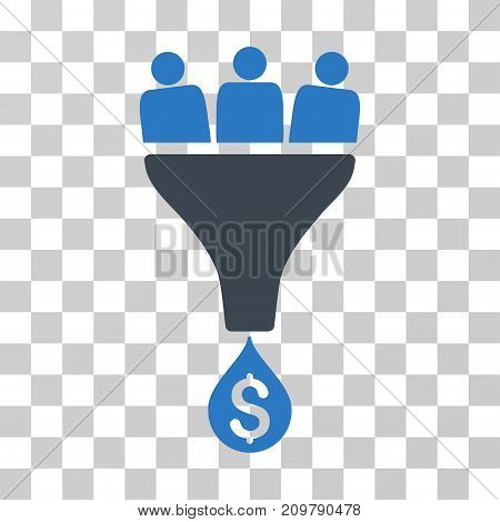 Sales Funnel icon. Vector illustration style is flat iconic bicolor symbol, smooth blue colors, transparent background. Designed for web and software interfaces.