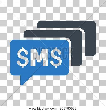 SMS Messages icon. Vector illustration style is flat iconic bicolor symbol, smooth blue colors, transparent background. Designed for web and software interfaces.