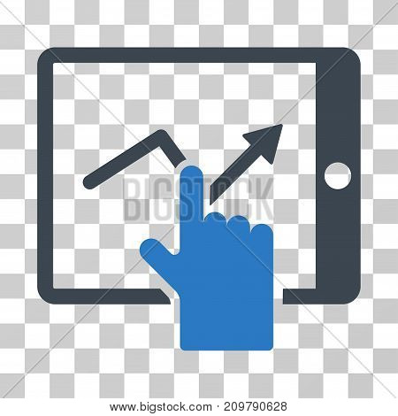 Tap Trend On PDA icon. Vector illustration style is flat iconic bicolor symbol, smooth blue colors, transparent background. Designed for web and software interfaces.