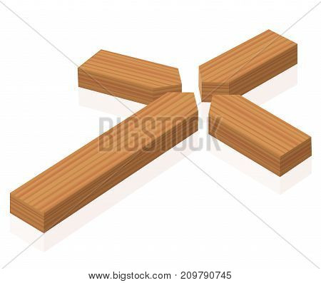 Broken cross lying on the ground, symbol for crisis of faith or belief or other clerical and ecclesiastical problems - isolated wooden style vector illustration on white background.