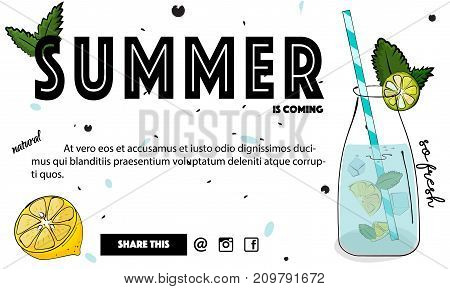 Summer cocktail banner. Tropical mint fresh drink. Cold juicy water in glass with lemon and ice .Freshness liquor