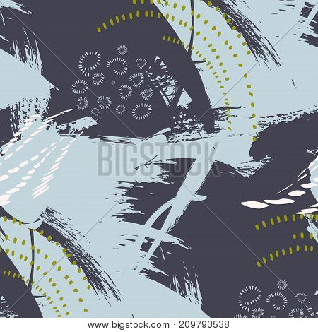 Vector grunge abstract expressive pattern. Brush stroke minimalistic print in grey blue colors.Pastel fresh dynamic background