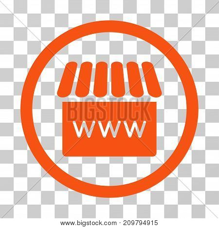 Webstore icon. Vector illustration style is flat iconic symbol, orange color, transparent background. Designed for web and software interfaces.
