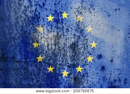 Old Rusty Metal Texture Depicting The Flag Of The European Union