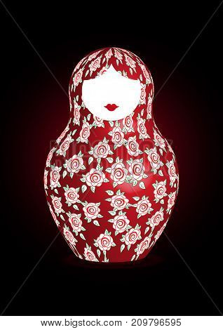 Russian nesting doll matrioshka floral decoration, 3D icon symbol of Russia, vector isolated or black background