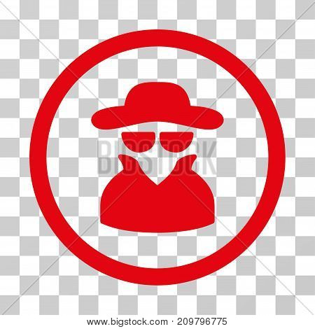 Spy icon. Vector illustration style is flat iconic symbol, red color, transparent background. Designed for web and software interfaces.