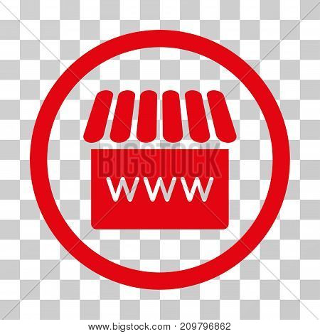 Webstore icon. Vector illustration style is flat iconic symbol, red color, transparent background. Designed for web and software interfaces.