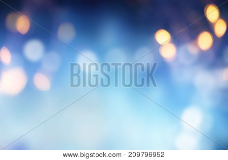 Bright blue background against defocused blurred lights. 3d rendering