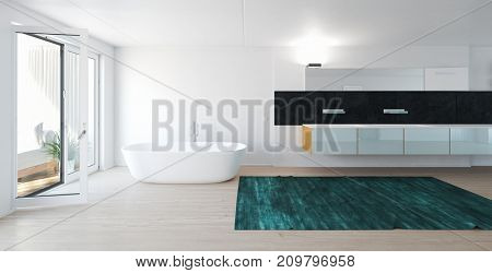Modern bright spacious bathroom with white bathtub and large windows. 3d rendering