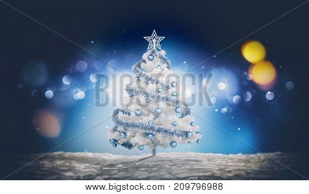 Traditional seasonal card with a white Christmas tree decorated with blue baubles and tinsel outdoors at night against blurred lights. 3d rendering