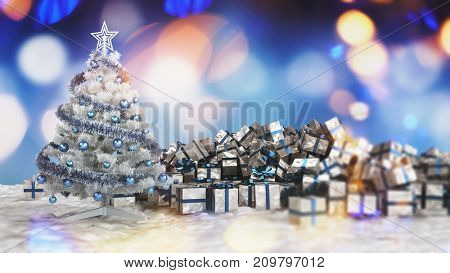 Traditional Christmas card with silver decorated Xmas tree next to a pile of wrapped gift boxes against multicolored blurred lights. 3d rendering