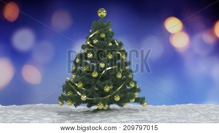 Green Christmas tree decorated with traditional baubles and tinsel outdoors in the snow against multicolored blurred festive lights at night. 3d rendering