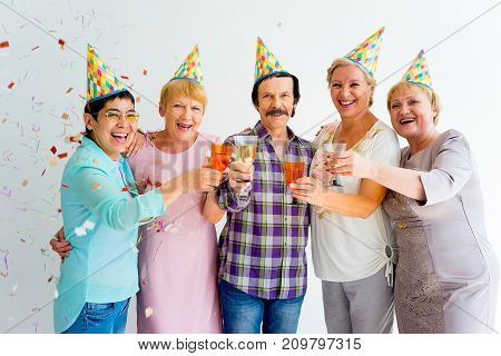 Group of senior people having a birthday party