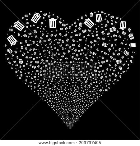 Dustbin fireworks with heart shape. Vector illustration style is flat white iconic symbols on a black background. Object valentine heart constructed from confetti symbols.
