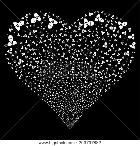 Engineer fireworks with heart shape. Vector illustration style is flat white iconic symbols on a black background. Object love heart constructed from confetti pictographs.