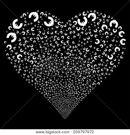 Euro fireworks with heart shape. Vector illustration style is flat white iconic symbols on a black background. Object salute constructed from confetti pictograms.