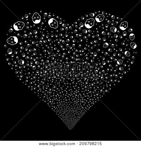 Face fireworks with heart shape. Vector illustration style is flat white iconic symbols on a black background. Object heart constructed from scattered pictographs.