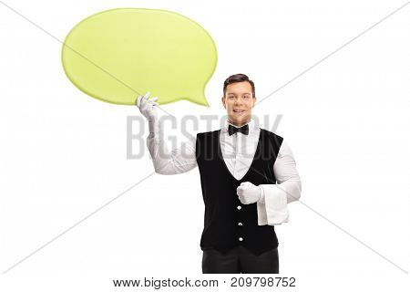 Waiter holding a yellow speech bubble isolated on white background