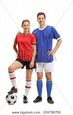 Full length portrait of a female and a male footballer isolated on white background