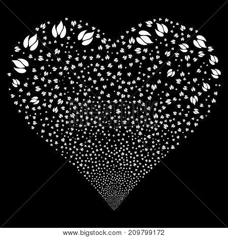 Fire fireworks with heart shape. Vector illustration style is flat white iconic symbols on a black background. Object stream created from random icons.